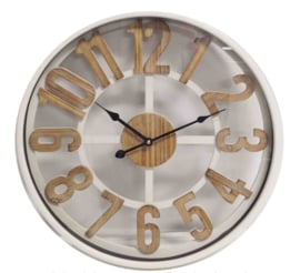 White Wall Clock Wooden Digit Dia50*6cm with Glass