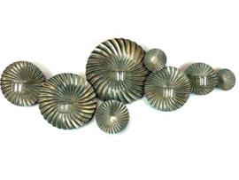 Metal Old Gold Walldeco Discs Rib 125*8*67