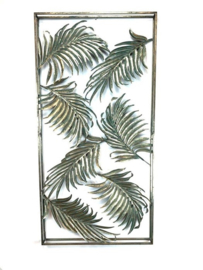 Rectangle Metal Old Gold Walldeco Leaves 120*5*60