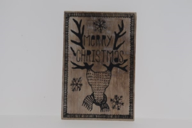 Postkaart hout Merry Christmas