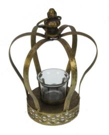 Waxinelichthouder Kroon goud 17x17x22,8cm