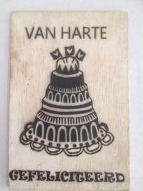 Postkaart Van harte gefeliciteerd taart