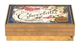 Blikje Chocolates delicious vlinder 14,8x11,2x4cm