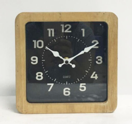 Wooden Square Table Clock Black Background 20x5.5x20cm