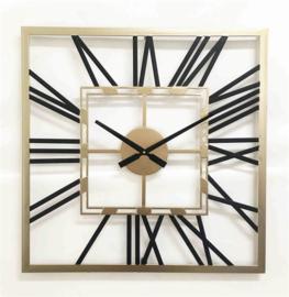 Square metal wall clock with black roman digit 60x4.5x60cm