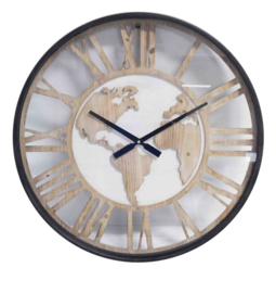 Wall Clock Wooden World Map 60*6cm Glass Cover