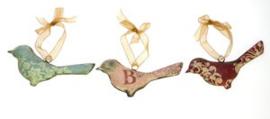 Vogeltje hangend metaal, 3 stuks . 12x2x6,5cm