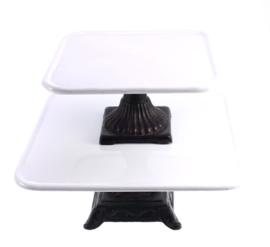 Etagere metaal set/2 zwart/wit 30x30x13cm/22x22x11cm