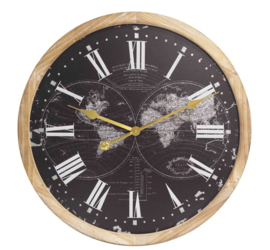 Wooden Wall Clock Black Worldmap Dia 60*4.5cm with Glass