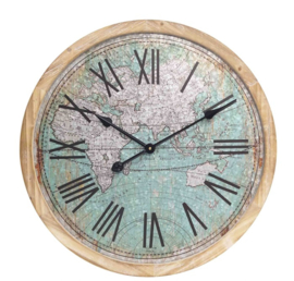 Wall Clock Colored World Map Dia60*4.5cm
