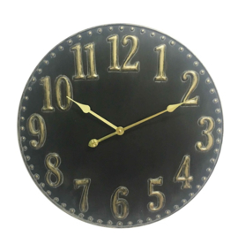 Black metal clock with golden digit dia60x4.5cm