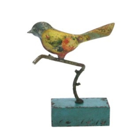 Vogeltje staand metaal op RH voetje 12x4x17cm