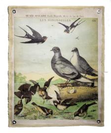 Wandplaat linnen Vogels 72x0,2x90cm