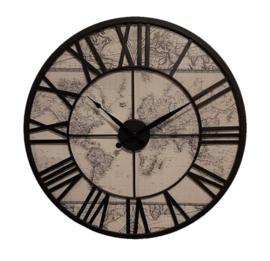 Metal Clock Vintage Worldmap 57*5*57cm
