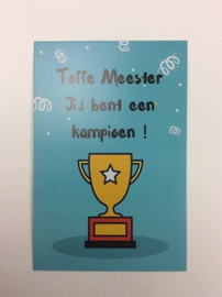 Postkaart Toffe Meester Kampioen