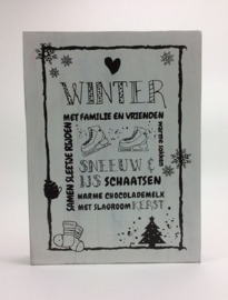 Tekstbord 30x40 cm rand Winter
