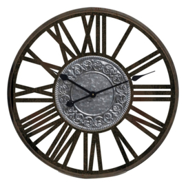 Black Wooden Wall Clock Metal Insigne Dia60*4.5cm