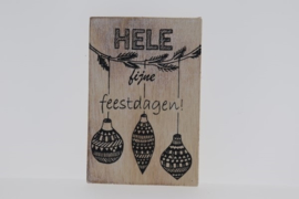 Postkaart hout Hele Fijne Feestdagen