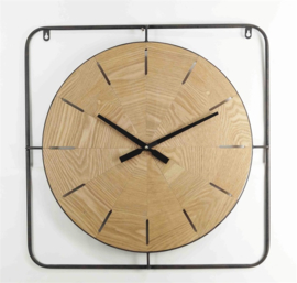 Square wooden clock no numbers 60.5x60cm