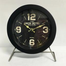 Metal/Black Wood Table Clock Union Hotel 25x10x29cm