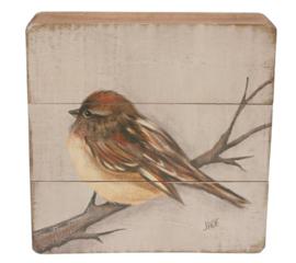 Schilderijtje hout Mus op tak 20x5,5x20cm