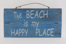 Tekstbord Happy Place blue 20x40 cm