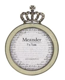 Fotolijstje rond met kroon (Ø7,5cm) 9x1,5x12cm