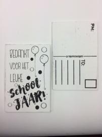 Postkaart hout Bedankt voor…. schooljaar