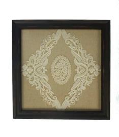 Lijstje met kant ornament glas 25x25cm