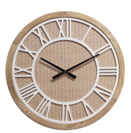 Wooden wall clock whit white roman digit dia 60x4.5cm