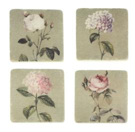 Onderzetters Rozen/hortensia, s/4, 9,5x9,5cm