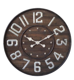 Metal/Wood Clock Barrel 70x5cm
