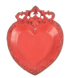 Hart sierschaaltje rood 10,5x1,5x13cm