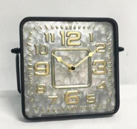 Square Metal Tableclock Black/Silver/Gold 23.5x11.5x19.5cm