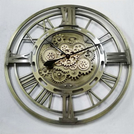 Gear Clock Open Old Silver Roman Dia80x8.5cm
