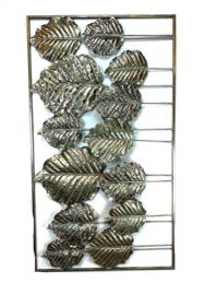 Rectangle Metal Shimmer Gold Walldeco Big Leaves 120*5*70
