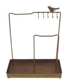 Sieradenrek met haken en vogel goudkleurig 26x12x33m