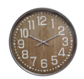 Round Metal Clock Wood Mill Digit Dia 60x6,5cm Glass Cover