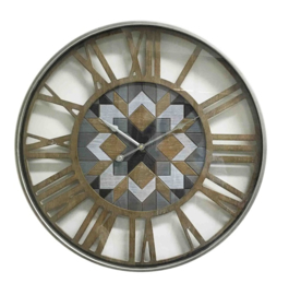 Metal/Wooden Wall Clock Mosaik Dia60*6cm with Glass