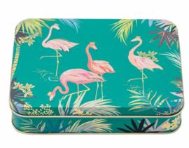 Blikje Flamingo's groen 14,5x10,5x3,5cm