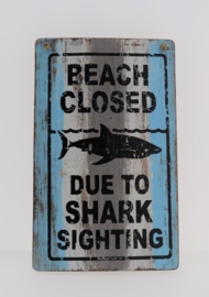 Tekstbord 25x40 cm Beach closed blue