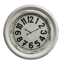 Clock White Metal Edge & Glass Cover 79x9.5cm