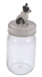 Pot met deksel Hond zwart/wit Ø7x19cm