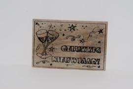 Postkaart hout Gelukkig Nieuwjaar