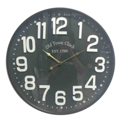 Iron Clock 'Old Town Glass Çover Dia 60x6cm