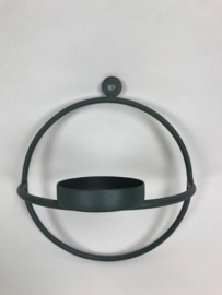 Round Wall T.Light Holder 15x17x9 cm Blue Grey