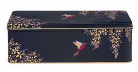 Blik Vogels donkerpaars 24,5x10,5x8cm