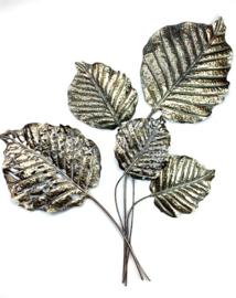Metal Shimmer Gold Walldeco 5 Big Leaves 74*5*76