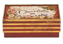 Blikje Chocolates luxury vlinder 11x7,5x4cm