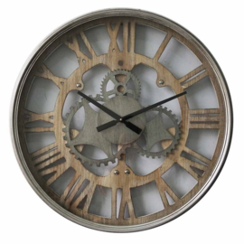 Round Metal Clock Wheels Wood Roman Dia 60x6,5cm Glass Cover